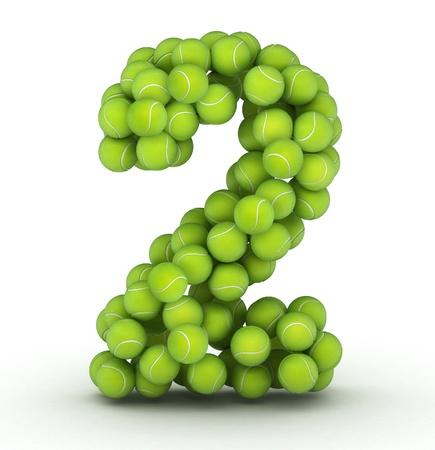 tennis ball: Number 2, alphabet of tennis balls