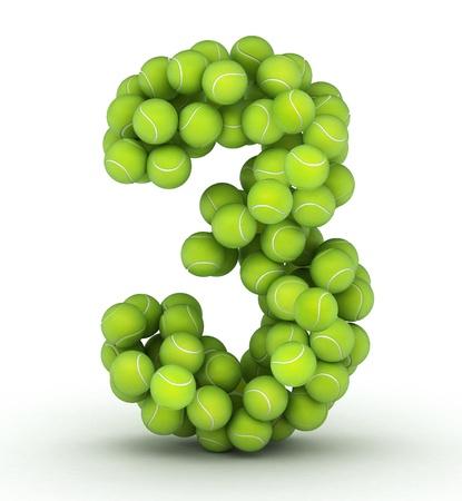 Number 3, alphabet of tennis balls Imagens - 13664156