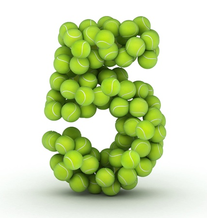 Number 5, alphabet of tennis balls photo