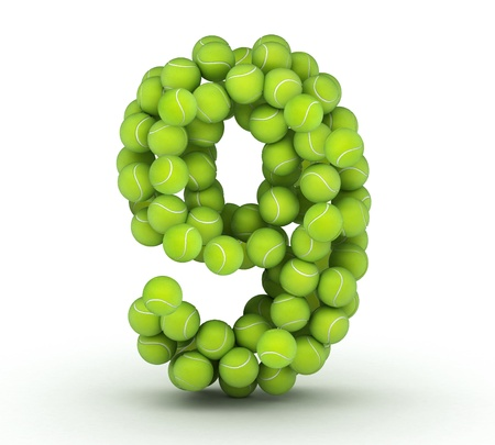 9 ball: Number 9, alphabet of tennis balls Stock Photo