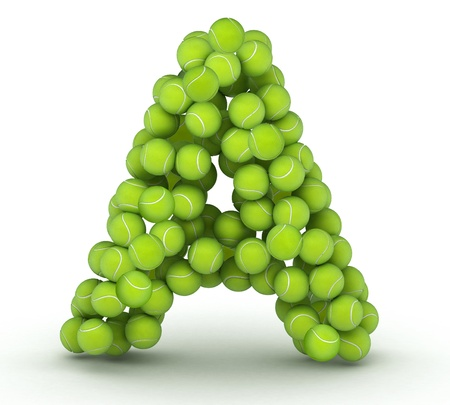 Letter A, alphabet of tennis balls