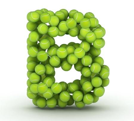 tennis balls: Letter B, alphabet of tennis balls