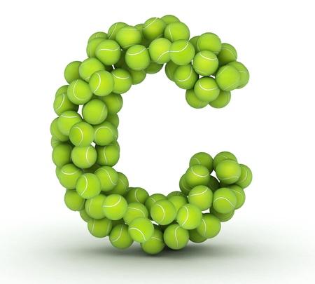 tennis balls: Letter C, alphabet of tennis balls