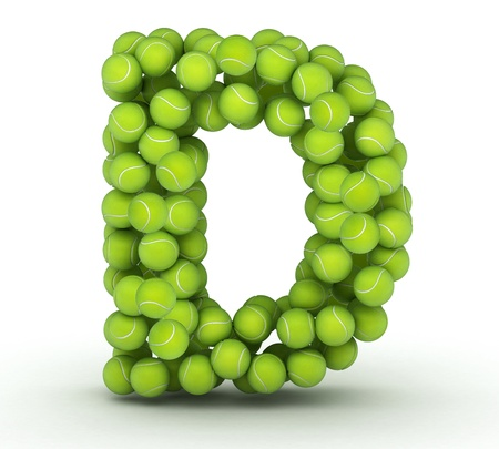 Letter D, alphabet of tennis balls photo