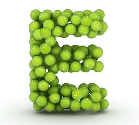 Letter E, alphabet of tennis balls