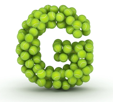 Letter G, alphabet of tennis balls photo