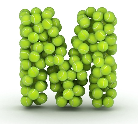 Letter M, alphabet of tennis balls Stock Photo