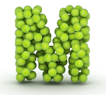 Letter M, alphabet of tennis balls Imagens