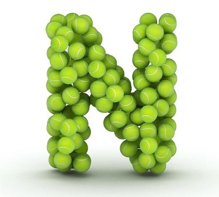 letter n: Letter N, alphabet of tennis balls Stock Photo