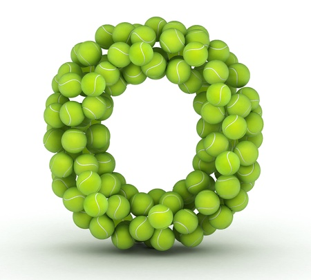 Letter O, alphabet of tennis balls Stock Photo