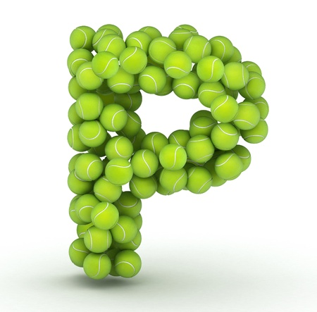 Letter P, alphabet of tennis balls Stock Photo