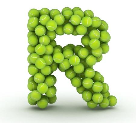 Letter R, alphabet of tennis balls