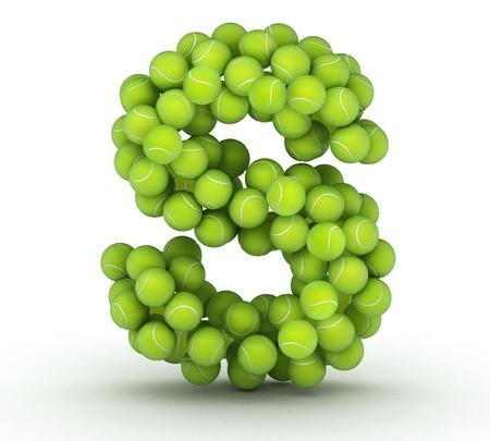 alphabet s: Letra S, el alfabeto de pelotas de tenis