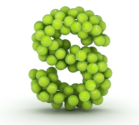 Letter S, alphabet of tennis balls Stock Photo