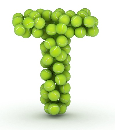 Letter T, alphabet of tennis balls Stock Photo
