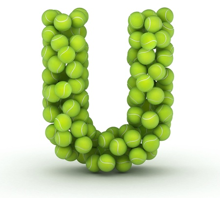 Letter U, alphabet of tennis balls Stock Photo