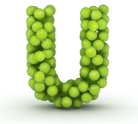 Letter U, alphabet of tennis balls Imagens