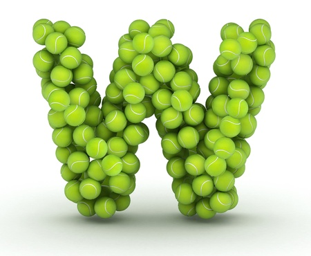 Letter W, alphabet of tennis balls photo