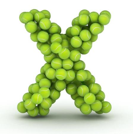 letter x: Letter X, alphabet of tennis balls