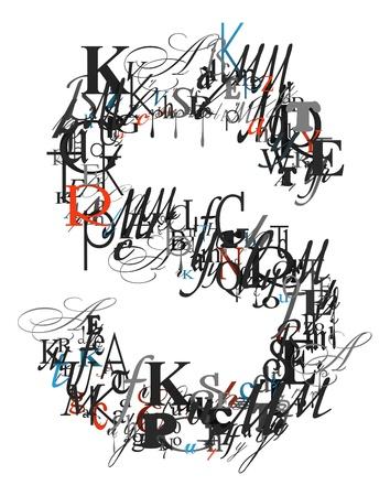 buchstabe s: Buchstabe S, Alphabet aus Buchstaben