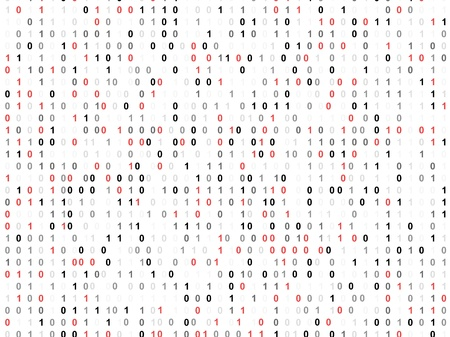 cryptography: Binary code screen with red cypher