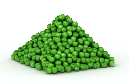 Big pile of green apples photo