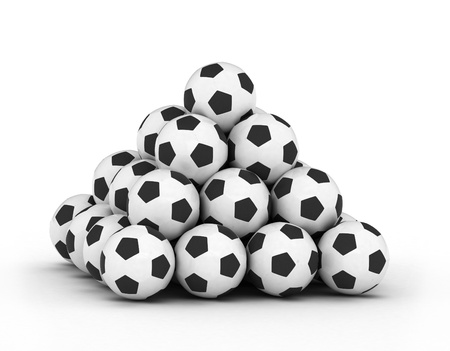 stacking: Stack of football soccer balls