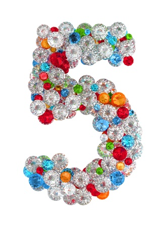 number 5: Number 5 from scattered gems jewelry