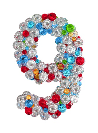 Number 9 from scattered gems jewelry Stock Photo - 14491808