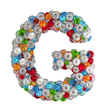 g alphabet: Letter G from scattered gems jewelry Stock Photo