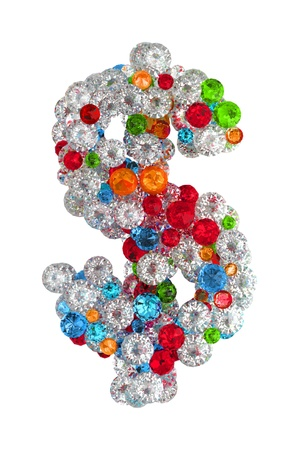 Dollar sign from scattered gems jewelry Stock Photo - 14491785