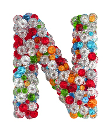 Letter N from scattered gems jewelry Stock Photo - 14491876