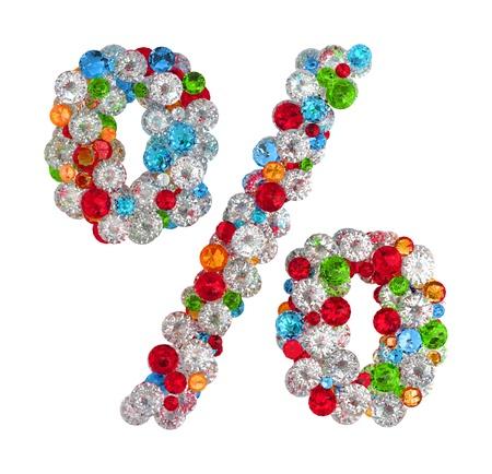 Percetn mark from gems Stock Photo - 14491867