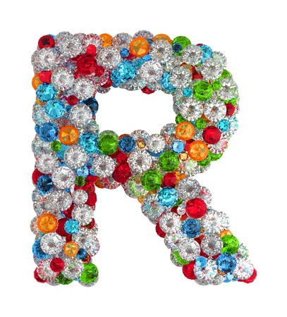 letter r: Letter R from scattered gems jewelry Stock Photo