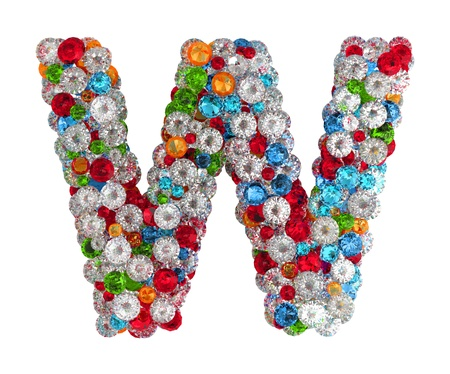Letter W from scattered gems jewelry Stock Photo - 14491886
