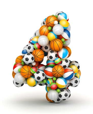 Number 4, stacked from gaming balls alphabet Imagens - 14491779