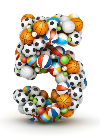 Number 5, stacked from gaming balls alphabet Stock Photo