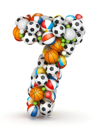 Number 7, stacked from gaming balls alphabet Imagens - 14491761
