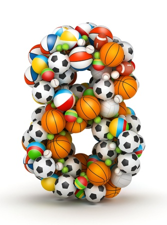Number 8, stacked from gaming balls alphabet photo