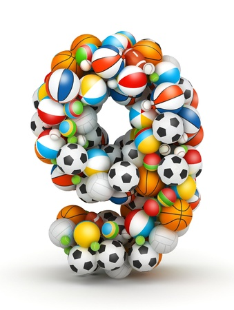 Number 9, stacked from gaming balls alphabet Stock Photo - 14491788