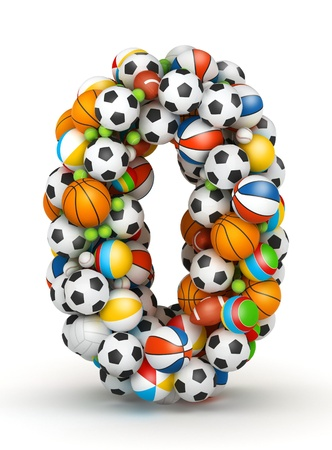 Number 0, stacked from gaming balls alphabet Stock Photo - 14491789
