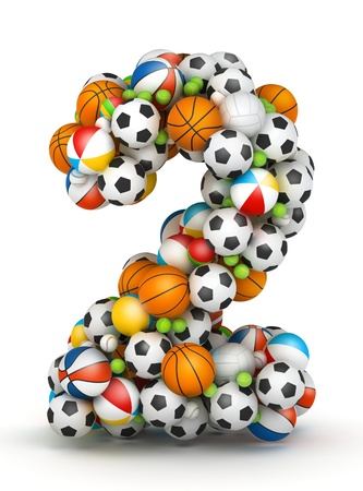 Number 2, stacked from gaming balls alphabet Stock Photo - 14491782