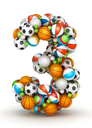 Number 3, stacked from gaming balls alphabet photo