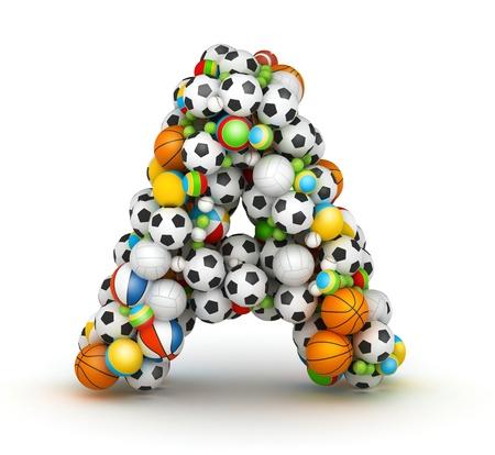 abecedario: Letra A, se apilan los juegos de azar alfabeto bolas