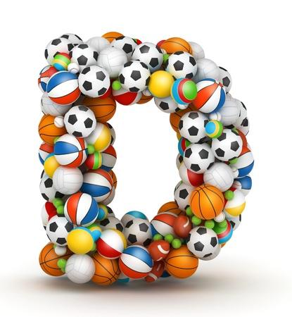 letter d: Letter D, stacked from gaming balls alphabet