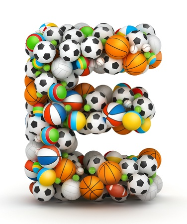 volley: Letter E, stacked from gaming balls alphabet Stock Photo