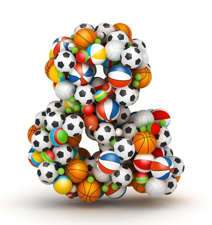 Ampersand Sign, stacked from gaming balls alphabet Stock Photo - 14491836