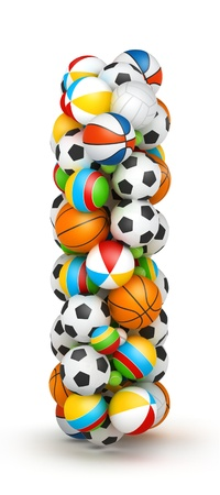 Letter I, stacked from gaming balls alphabet Imagens - 14491753