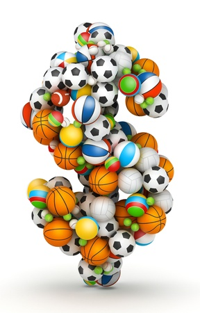 sporting goods: Dollar sign, stacked from gaming balls alphabet Stock Photo