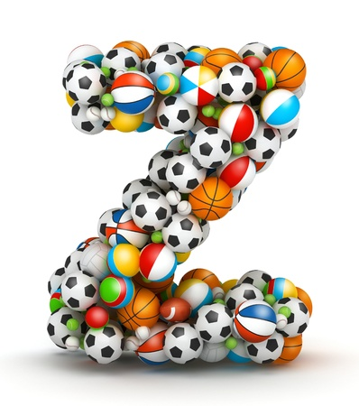 athletic type: Letter Z, stacked from gaming balls alphabet Stock Photo